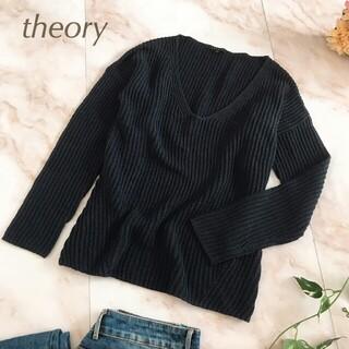 theory - 美品 theory セオリー Vネック リブニット セーター プルオーバー 紺色