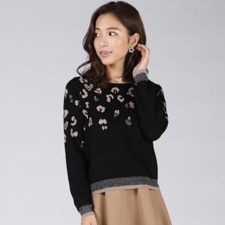 QUEENS COURT - 新品♡QUEENS COURT♡ビジューヒョウ柄ニット 黒