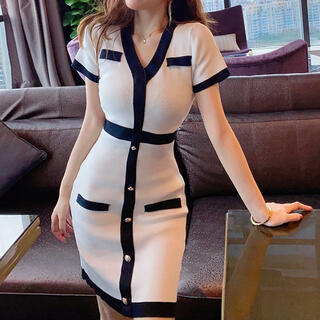 リップサービス(LIP SERVICE)のバイカラーVネック膝丈ワンピース(ホワイト)(ナイトドレス)