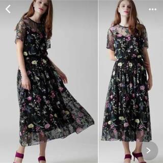 GRACE CONTINENTAL - グレースコンチネンタル フラワー 刺繍 チュールスカート ロングスカート 36