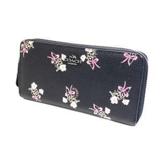 COACH - OACH コーチ 長財布,黒地に散りばめた愛らしいお花ラウンドジップ大容量