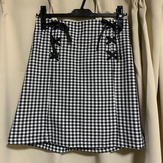 INGNI - 黒×白 チェック タイトスカート リボン 膝丈スカート