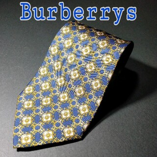 バーバリー(BURBERRY)の【極美品】BURBERRYS  総柄 ネクタイ ネイビー/イエロー(ネクタイ)