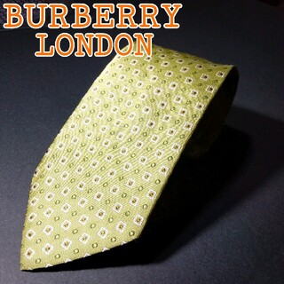 バーバリー(BURBERRY)の【美品 】BURBERRY LONDON 総柄 ネクタイ ライトグリーン(ネクタイ)