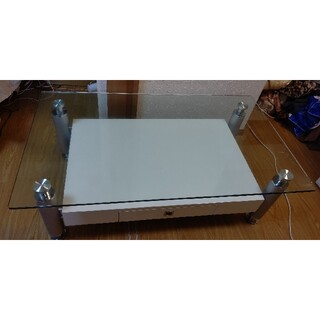 ガラステーブル   引き出し付き  ホワイト(ローテーブル)