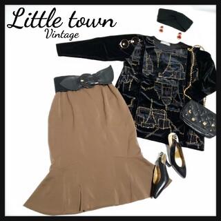 おまとめOK/vintage飾りボタン裾フレアSKT/レトロ/個性派(ひざ丈スカート)