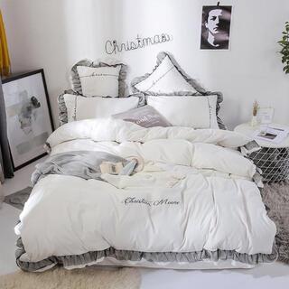 Francfranc - Francfranc系💕フリル付き刺繍ベッドカバー4点セット