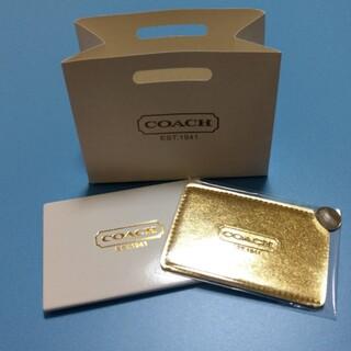 COACH - ゴールド コーチ カードミラー 紙袋付き