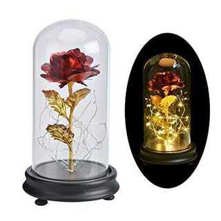 レッド造花ライト プリザーブドフラワー バラ ローズライト 美女と野獣 ガラスポ