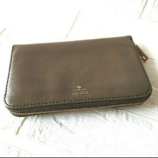 フォッシル(FOSSIL)の美品 FOSSIL フォッシル 財布 ブラウン カーキ(財布)