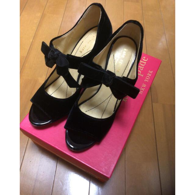 kate spade new york(ケイトスペードニューヨーク)の美品 ケイトスペード ベロア リボン パンプス サイズ6 レディースの靴/シューズ(ハイヒール/パンプス)の商品写真