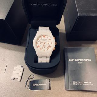 Emporio Armani - エンポリオアルマーニ セラミカ ホワイト 腕時計 クロノグラフ