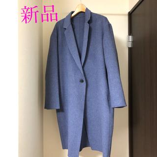 UNIQLO - ユニクロ ダブルフェイス コクーン コート Blue