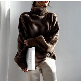 韓国ファッション ニット ハイネックセーター ブラウン レディース 即日発送
