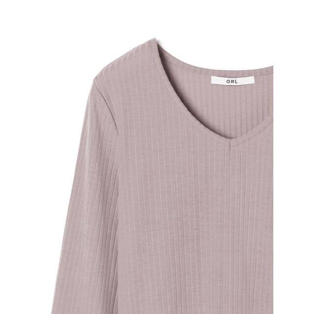 GRL(グレイル)のVネックリブ長袖トップス レディースのトップス(Tシャツ(長袖/七分))の商品写真