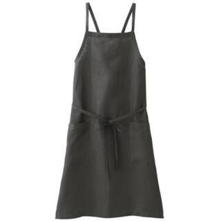 MUJI (無印良品) - 新品 無印良品  麻平織 肩クロスエプロン 身丈約90cm  墨黒