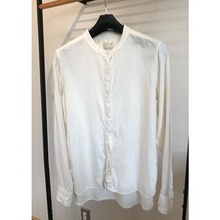 MUJI (無印良品) - 無印良品 オーガニックコットンフランネルスタンドカラーシャツ 婦人M・白