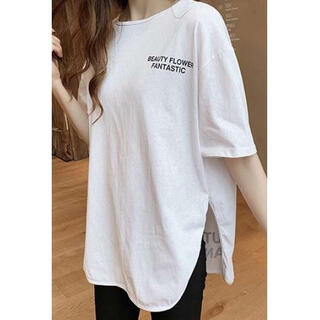 ⭐️大ヒット⭐️サイドスリット ビックTシャツ 韓国 ロゴT レディース 夏 白