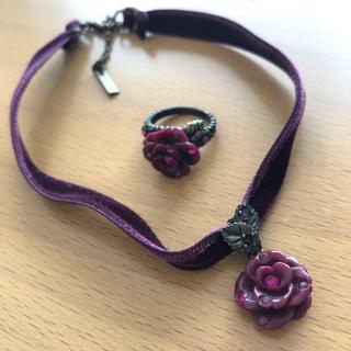 ANNA SUI - ANNA SUI アナスイ 薔薇 チョーカー 指輪 リング セット
