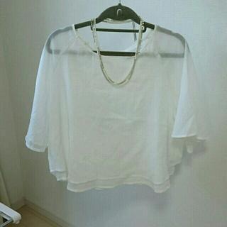 ジーユー(GU)のコットンブラウス☆ホワイト(シャツ/ブラウス(半袖/袖なし))