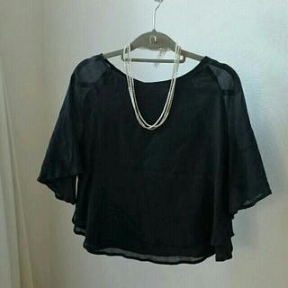 ジーユー(GU)のコットンブラウス☆ブラック(シャツ/ブラウス(半袖/袖なし))
