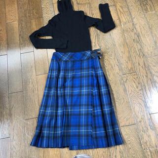 MACPHEE - マカフィー ブルーグリーン チェック プリーツスカート サイズ36