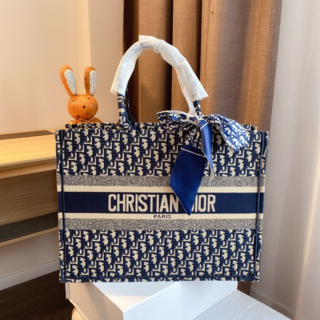 Christian Dior - クリスチャン ディオール キャンバス トートバッグ  ネイビー