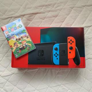 Nintendo Switch - 任天堂スイッチ 本体 ネオンブルー 中古品 どうぶつの森セット