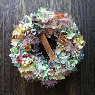 紫陽花のドライフラワーリース