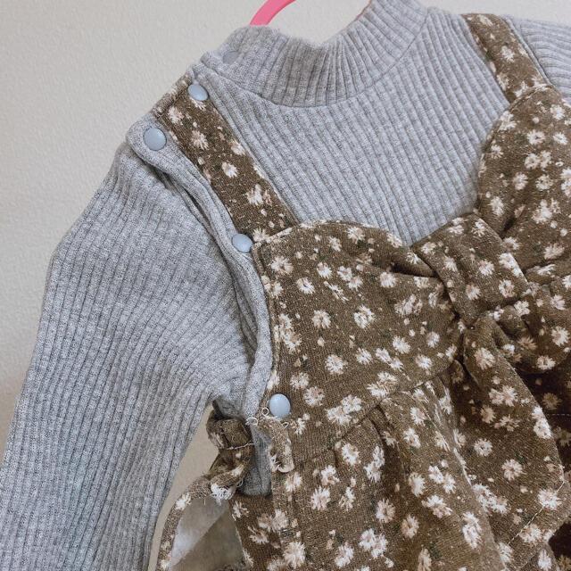 futafuta(フタフタ)の小花柄ロンパース 裏起毛 キッズ/ベビー/マタニティのベビー服(~85cm)(ロンパース)の商品写真