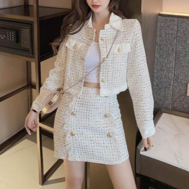 FRAY I.D(フレイアイディー)のカラフルツイードジャケット+スカート セットアップ ツイード ワンピース レディースのワンピース(ミニワンピース)の商品写真
