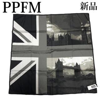 ピーピーエフエム(PPFM)のPPFM ストール マフラー アフガンストール ユニオンジャック 黒(ストール)