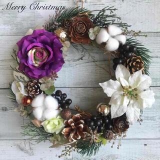 フラワーリース*白ポインセチアと紫のバラ*クリスマスリース