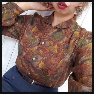 おまとめ値下げOK/vintage柄オープンカラーシャツ/古着/昭和レトロ(シャツ/ブラウス(長袖/七分))