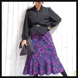 vintageアート柄裾フレアスカート/古着/個性派/レトロ/モード(ひざ丈スカート)