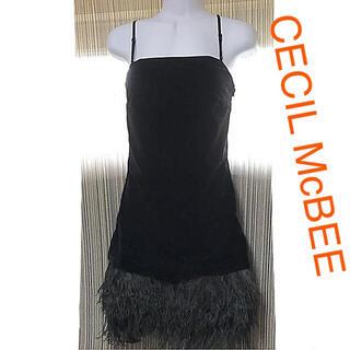 セシルマクビー(CECIL McBEE)のCECIL McBEE☆ベロア 羽根 ドレス ワンピース 黒(ミニドレス)