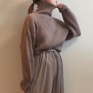 ZARA - リブニット くすみブラウン 韓国ファッション