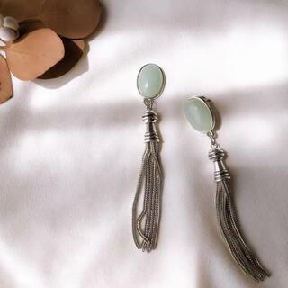 KBF - mint silver tassel pierce/earring