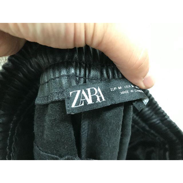 ZARA(ザラ)の未使用ザラZARAレザー風ジョガーパンツM黒★A20792 レディースのパンツ(カジュアルパンツ)の商品写真
