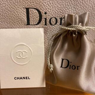 CHANEL - CHANEL ココマーク スクエアムエット Dior シルバーロゴ入り 巾着袋
