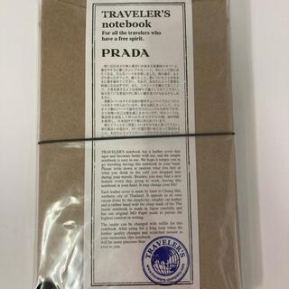 プラダ(PRADA)のプラダ トラベラーズノート  レギュラーサイズ 新品 ブラックレザー(ノート/メモ帳/ふせん)