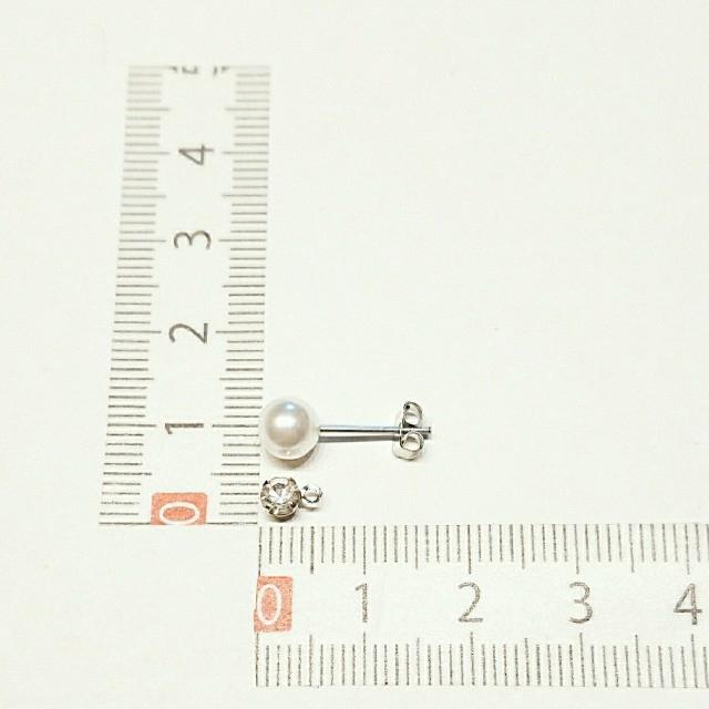No.328 パール&ビジュー シルバー2wayピアス ハンドメイドのアクセサリー(ピアス)の商品写真