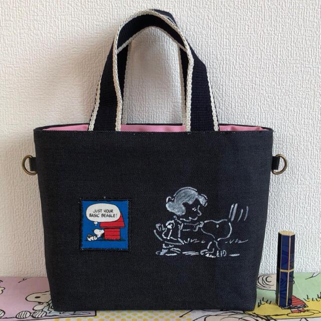 デニム❤︎472ウッドストック♡トートバック ハンドメイドのファッション小物(バッグ)の商品写真