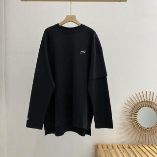 メゾンキツネ(MAISON KITSUNE')のADER ERROR2020 ロンT ブラック(Tシャツ/カットソー(七分/長袖))