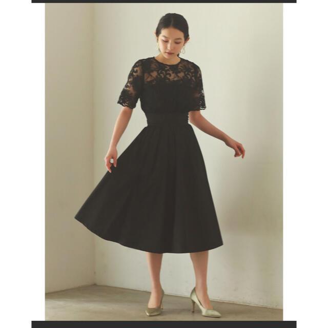 LagunaMoon(ラグナムーン)のLAGUNAMOON LADYオーバーギャザーレースドレス レディースのフォーマル/ドレス(ミディアムドレス)の商品写真
