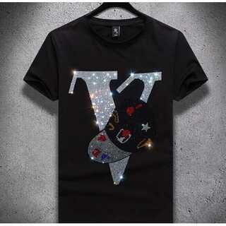 vラメ 黒 Tシャツ ペアルック オーバーシャツ グッチチック シャツ