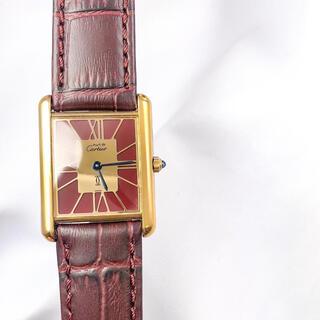Cartier - 【仕上済】カルティエ タンク ワイン文字盤 ゴールド レディース 腕時計