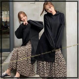 ~3L【F~大きいサイズ】裏起毛Xレオパード柄シフォン☆重ね着風ミモレ丈ワンピ
