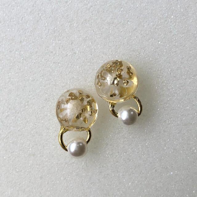 with flowers pierce/ earring ハンドメイドのアクセサリー(ピアス)の商品写真