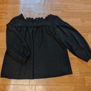 theory - 襟刺繍 シフォンブラウス ブラック